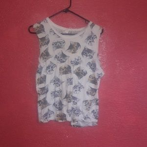 Forever 21 cat muscle tank top medium kitty